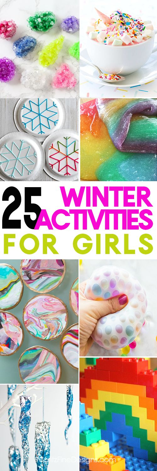 Winter Activities for girls of all ages, pre-school, elementary, tweens and teens. Fun games, crafts, experiments, building and more. Winter fun and entertainment boredom busters. #winteractivitesforkids #girlactivities #insideactivitesforkids #bestcraftsforgirls via @moritzdesigns