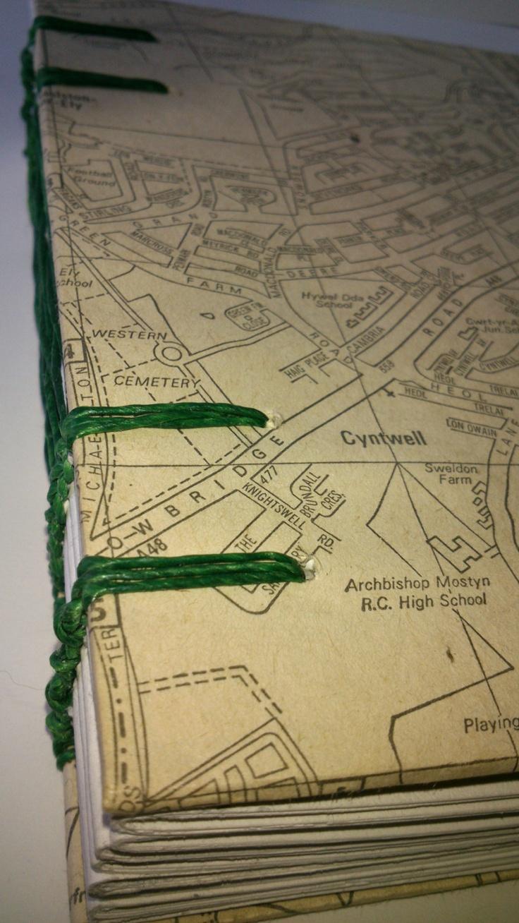 Handmade journal / sketchbook / travel diary / photo album - recycled vintage maps. £12.00, via Etsy.