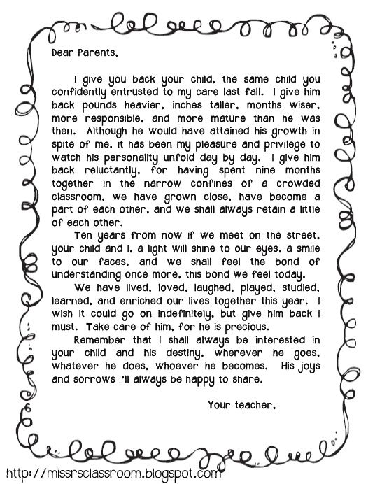 End of the Year Letter to Parents- can't wait to send this home with a class photo Monday