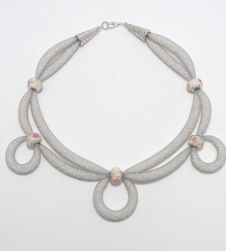 White seed beads  necklace in  plastic tube mesh. White necklace. Seed bead jewelry. Mesh jewelry. by BeadsAndSilkHarmony on Etsy