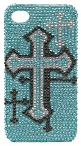 M Western Products Blue, Black & Silver Bling Cross iPhone 4 Case $15.00
