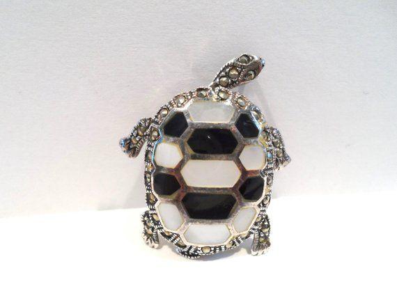 Sterling Silver Onyx Turtle Brooch//Pendant Onyx Turtle Silver Pendant//Brooch