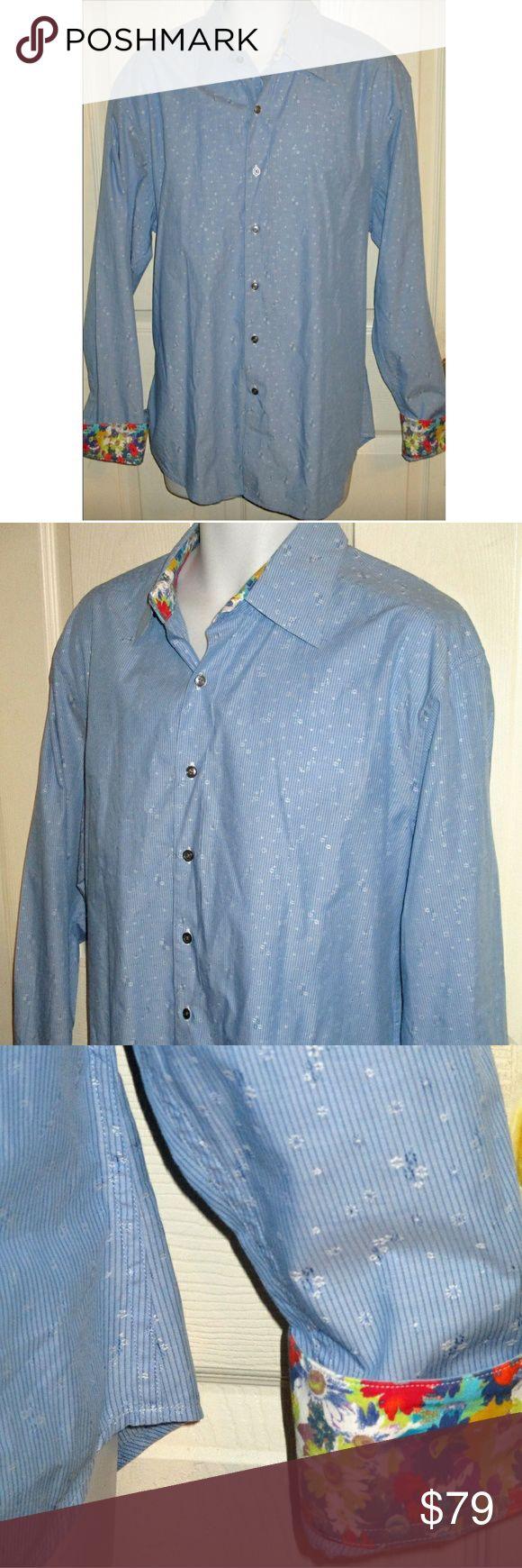 Robert Graham L/S Shirt Flip Cuff Silk Trim XL This is an XL long sleeve shirt with silk trim including flip collars by Robert Graham. The chest is 24 inches and length is 32 inches. Robert Graham Shirts Casual Button Down Shirts