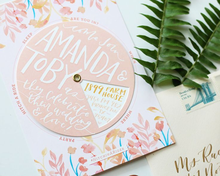 Playful Floral Pinwheel Wedding Invitations by Goldie Design Co. with an interactive die cut wheel displaying hand lettered text for guests. So fun!