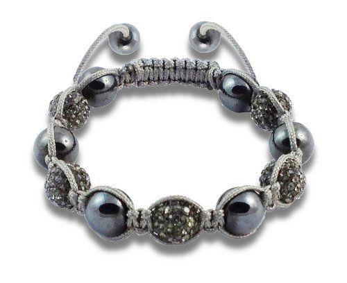 "Storm Gray Buddhist Bracelet CJ Styles. $19.99. 5 Rhinestone encrusted gray pave balls; 6 hematite balls. Gender: Unisex. Adjustable wrist size fits 7"" - 11"". 10 mm circumference size balls. Gray macrame nylon cord"