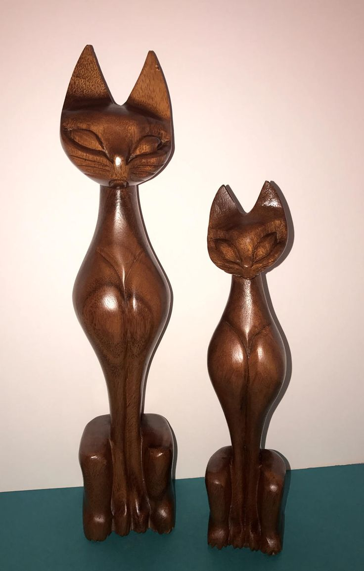 1960's LINA VIZCARRA OANDASAN pair of Modernist, Stylized wooden Cat Sculptures by FUNKYJUNKYantiques on Etsy