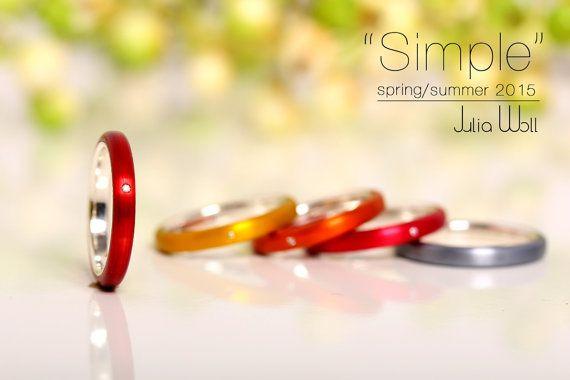 Anillo rojo con diamantes, joyas de aluminio, anillo Casual, ideas de regalos para mujer, anillo rojo, anillo Simple, aluminio anodizado, anillo de cóctel, anillo mini