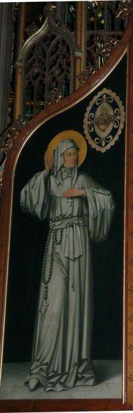 Marguerite - Marie Alacoque. - Marguerite-Marie als zieneres van het Heilig Hart. ca 1900(?), paneelschildering. Nederland, IJsselstein, St-Nicolaas.