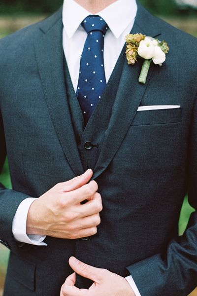 dark gray groom's suit with navy and white polka dot tie ~ we ❤ this! moncheribridals.com