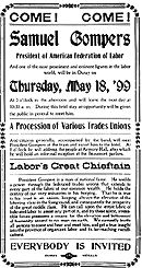 A flyer (primary source) that describes the creation of one of the first labor unions, the American Federation of Labor.
