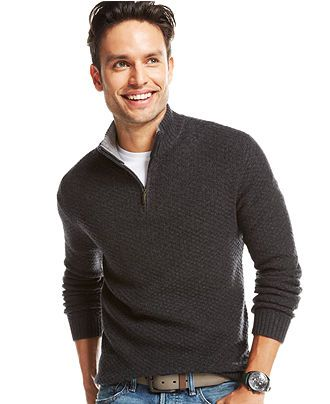 Club Room Wool/Cashmere Blend Basketweave Quarter Zip Sweater ...