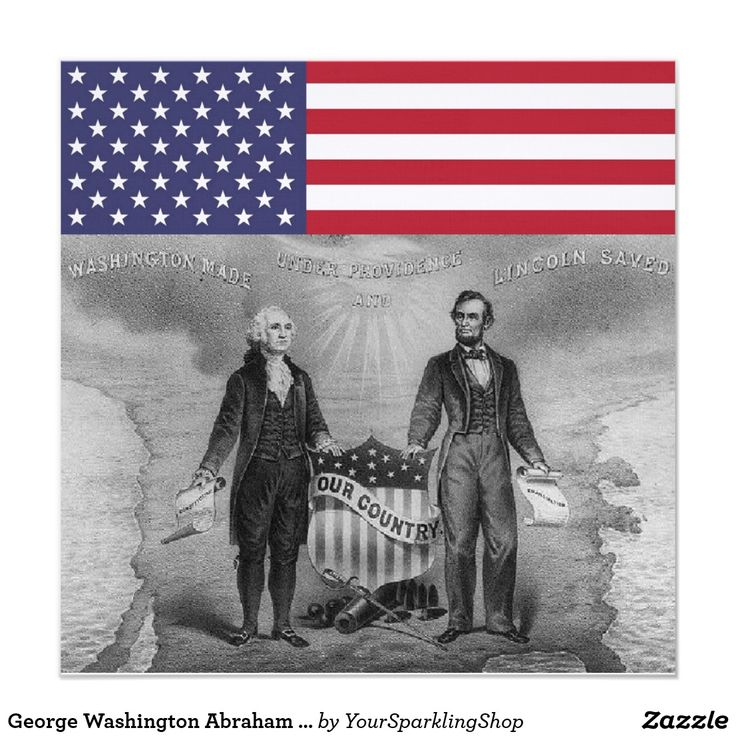 George Washington Abraham Lincoln American Flag #Card