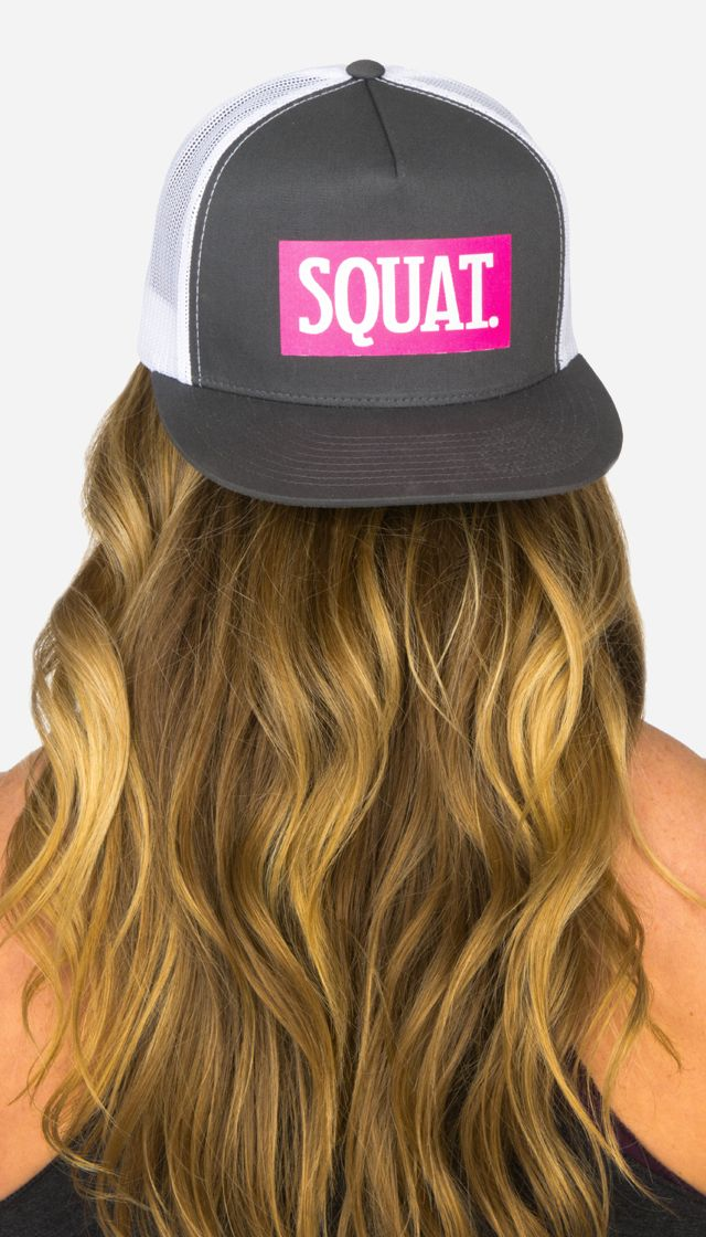 SQUAT hat - available in solid grey or two-tone grey and white.