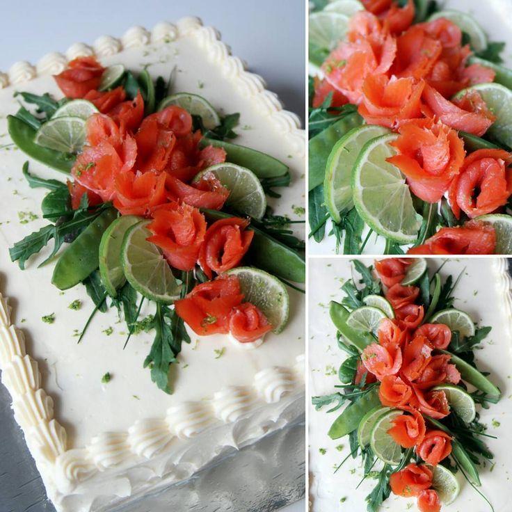"""""""#lohivoileipäkakku Sallin ristiäisiin  / / / #salmon #sandwichcake to Salli's Christening  #leivojakoristele #leivonta #instayum #instabake #ibakedit…"""""""