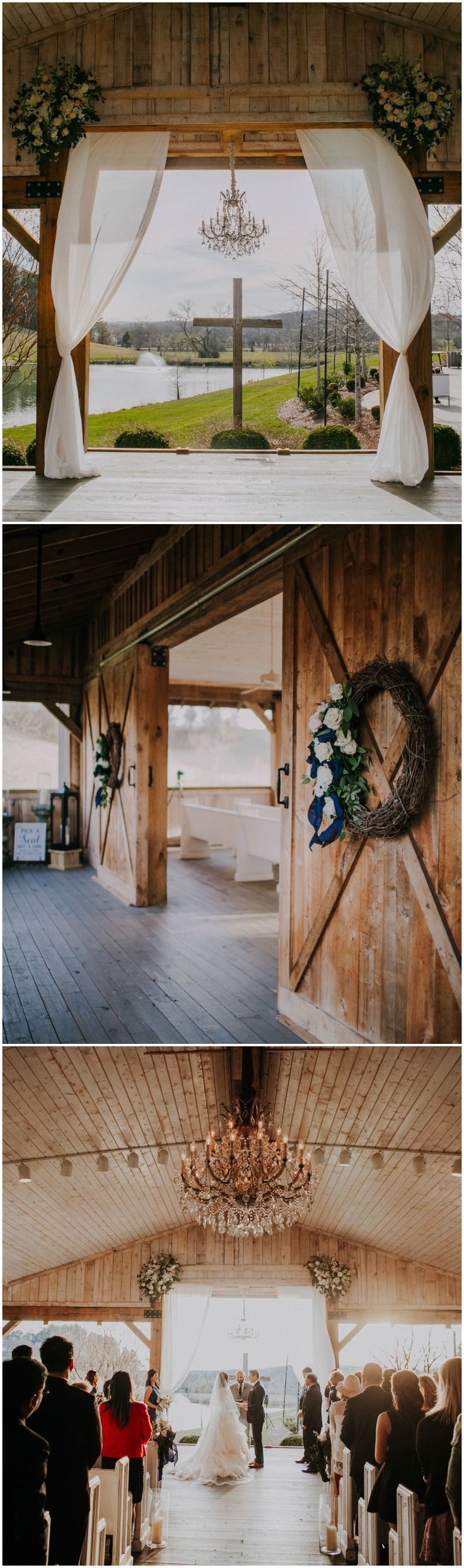 Rustic-romantic wedding ceremony, Southern wedding, wooden cross, draped white fabric, chandelier, white florals // Teale Photography