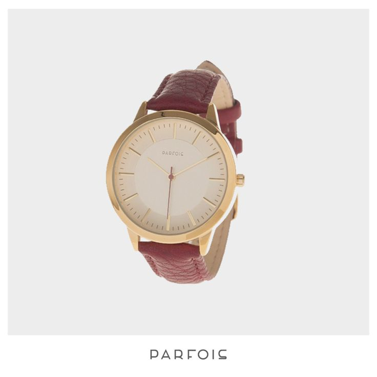 Wine Colored Round Watch from Parfois
