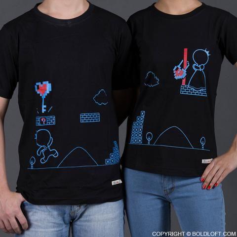 BoldLoft Key To My Heart Matching Couple Shirts Black