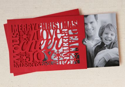 Custom die cut Christmas cards with a real photo insert... Can't wait to design something like this for our holiday cards this year.