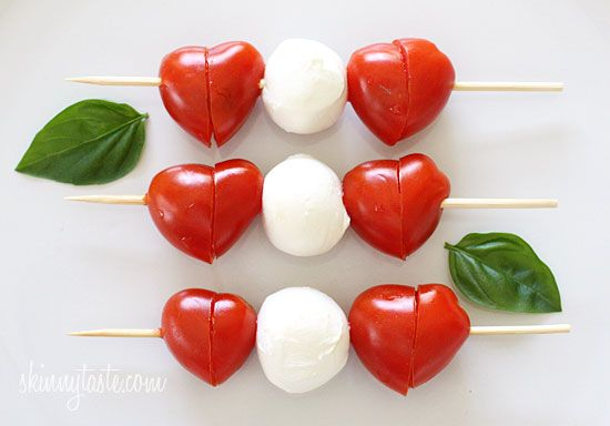 Caprese Skewers - cut tomatoes diagonally to look like hearts! :)