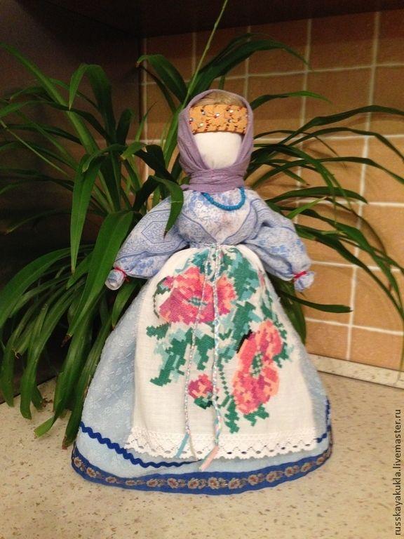 """Купить кукла """"Столбушка"""" Снегурочка - синий, кукла ручной работы, кукла в подарок, народная кукла"""