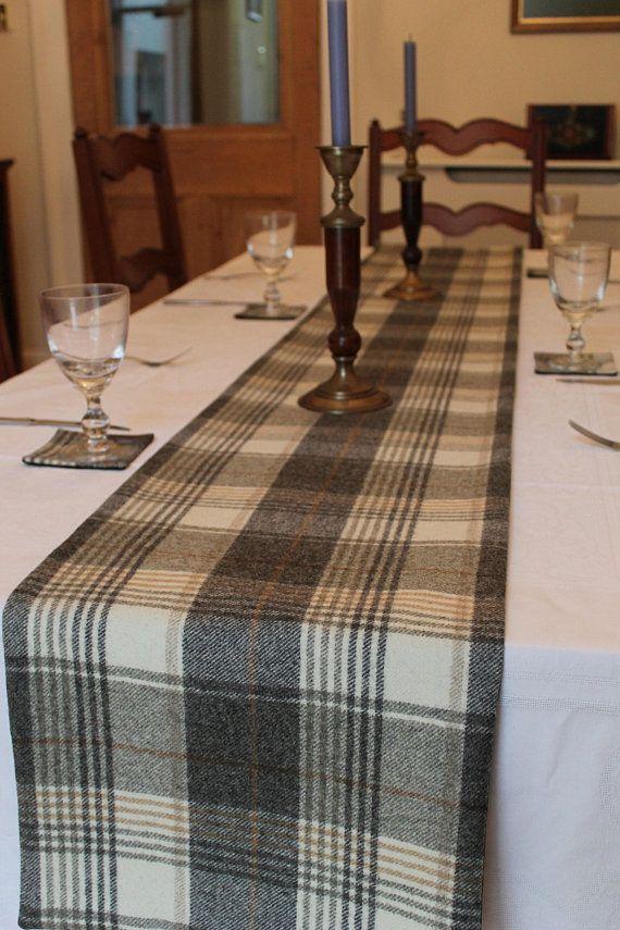 Grey Table Runner Grey Runner Tweed Table Runner Check Table Runner Grey Table Decor Tartan Table Runner Scottish Blue Table Runner Blue Table Grey Table