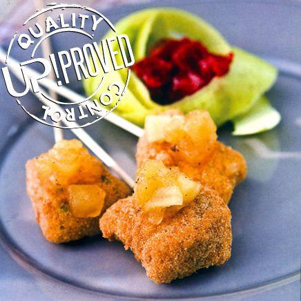 La ricetta di UP!: Bocconcini di merluzzo impanato con chutney di mele e limone