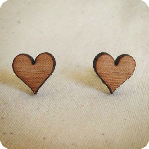 Love Heart stud earrings | One Happy Leaf | Nell and Oll