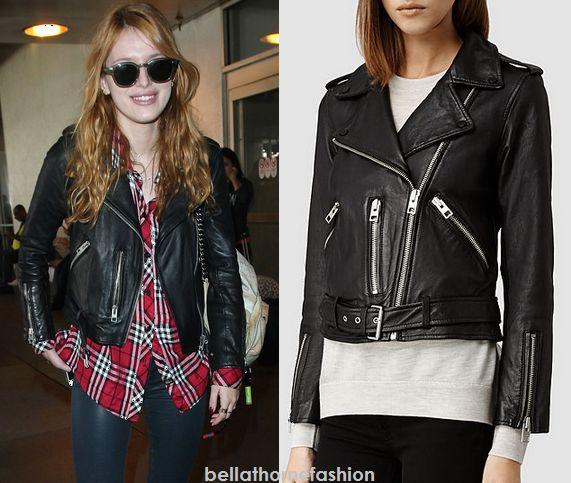 Bella Thorne wears this AllSaints Balfern Leather Biker Jacket arriving in LAX on November 12th 2014.