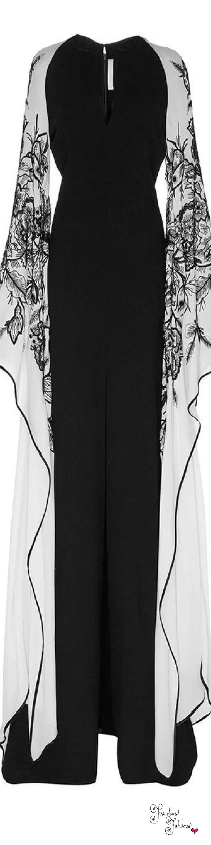 Frivolous Fabulous - Naeem Khan Fall Winter 2015 Frivolous Fabulous Styled - black and white floral pattern on flowing sleeves - hummingbird - long gown, dress