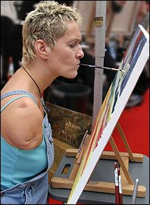 Alison Lapper, an artist that paints using her mouth