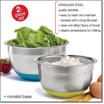 Avon   Stainless Steel Prep Bowls Mix Anything In These Nonskid Prep Bowls.  No Matter