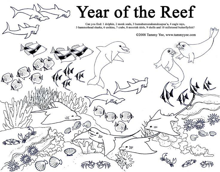 Coral Reef Coloring Pages Road Trip Activity Book, Coloring Pages, Great Barrier  Reef