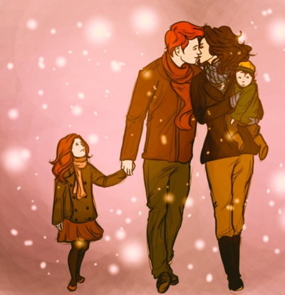 Ron and Hermione Weasley, Rose and baby Hugo. <3