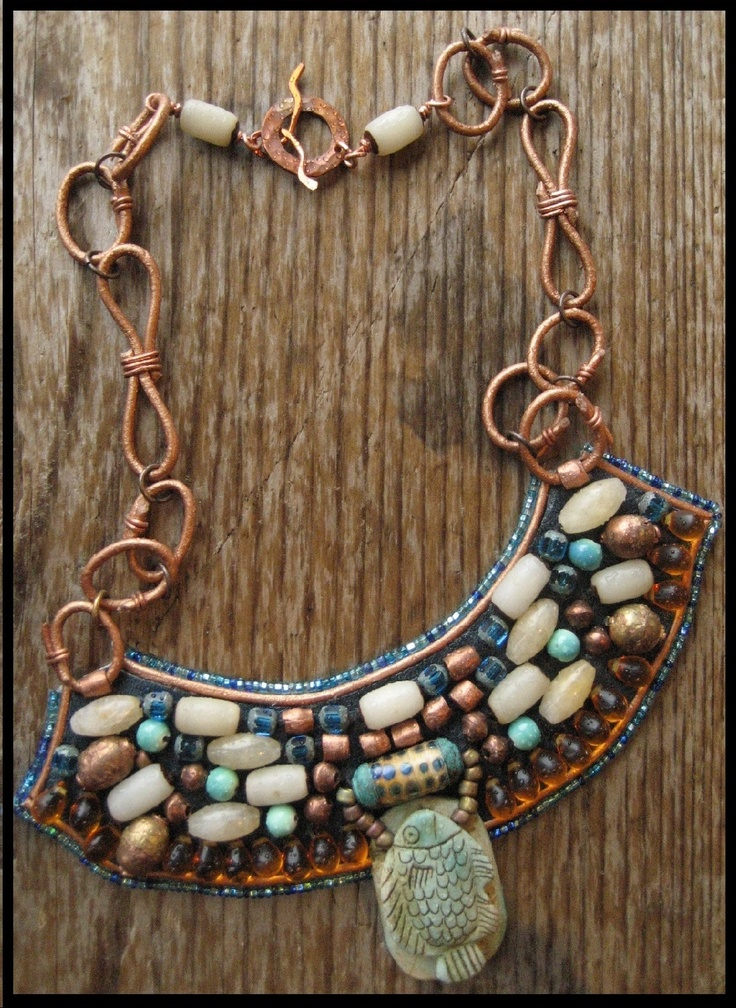 leather and beaded egyptian revival bib necklace leather link chain copper clasp lampwork
