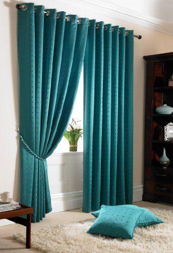 RING TOP FULLY LINED JACQUARD CURTAINS Ready Made Eyelet Curtain Pair +  Tiebacks Teal ( Aqua