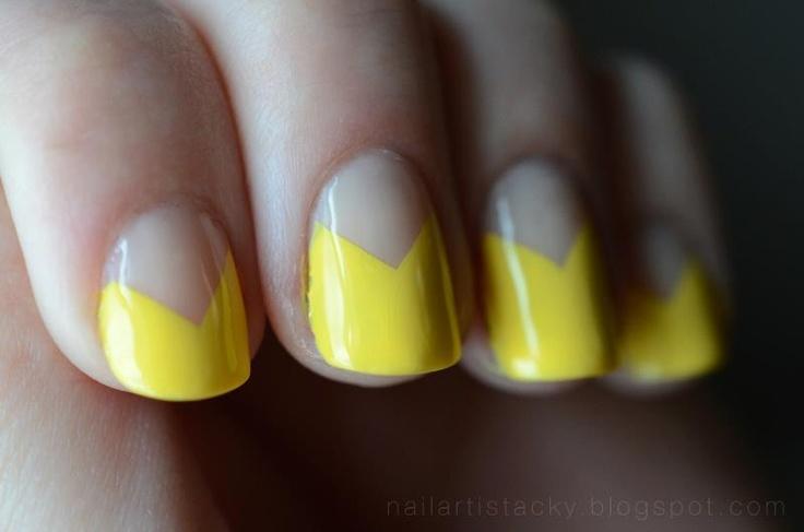 Chevron half moon mani featuring Zoya Nail Polish in Pippa!: Polish Nails, Nail Art Designs, Moon Nails, Zoya Polish, Chevron Half, Nails Art Design, Yellow Chevron, Art Nails, Half Moons