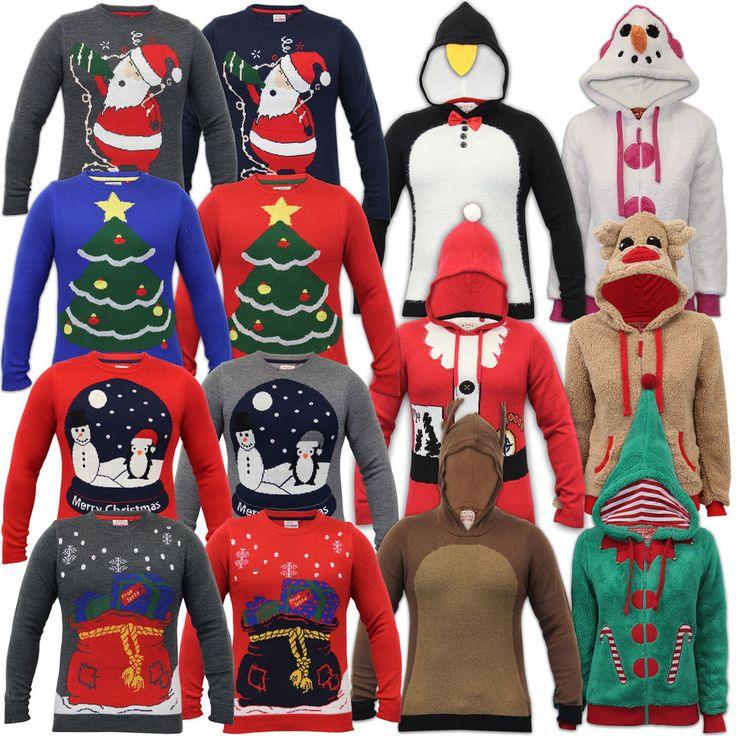 Mens Ladies Christmas Jumpers LED Threadbare Womens Xmas Novelty Santa Hood Borg
