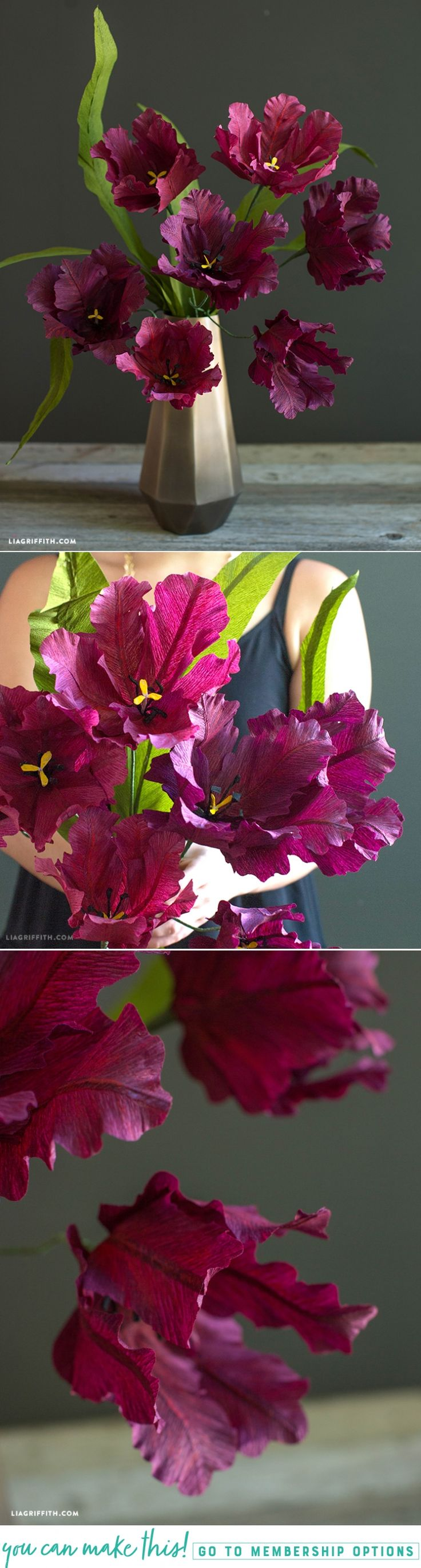 DIY #CrepePaper Parrot Tulips Pattern and Tutorial at www.LiaGriffith.com: