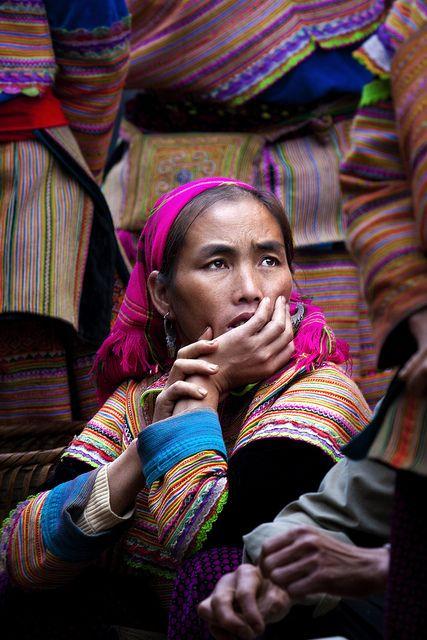Flower Hmong woman at the Coc Ly market near Sapa, Vietnam