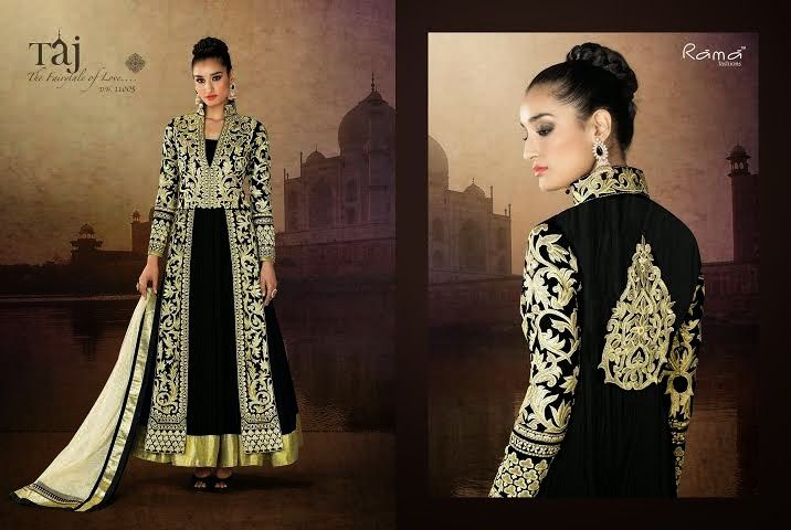 Very Classy and Rich Black and White Floor Length Semi-stitched Velvet Anarkali Dress with Heavy Hand and Machine Work. Comes along with Santoon Bottom and Inner and Net Dupatta.