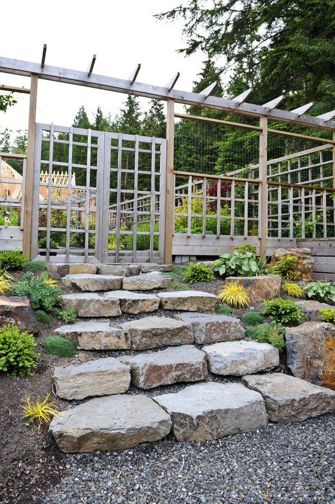 Garden fences and landscape transitional with wood lattice gate wood wall