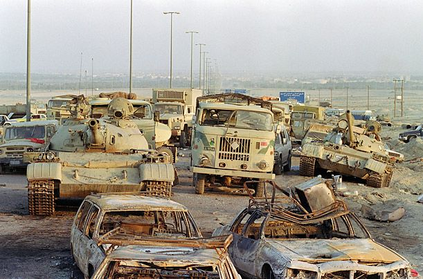 "Operation Desert Storm, Iraq - The Highway of Death Decimated and in disarray, the retreating Iraqi troops raced out of Kuwait in pell mell flight, fleeing in whatever vehicles they could commandeer along the roads leading north to Basra, Iraq's second largest city. The highways were so jammed with vehicles that one observer compared it to ""Daytona Beach at Spring break."" But for the allies' fighter bombers, the resulting traffic jams were like shooting fish in a barrel, and the result was a…"