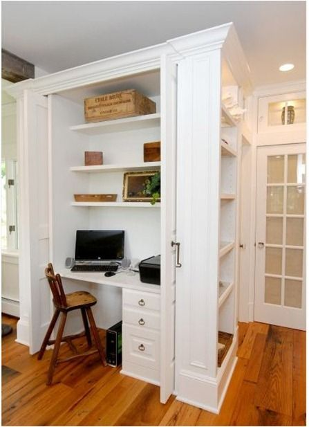 Centsational girl blog archive small space solutions for Built in desk in kitchen ideas
