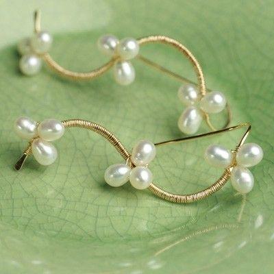 Pearl Vine Earrings White Pearls Gold Fill Wire by fussjewelry