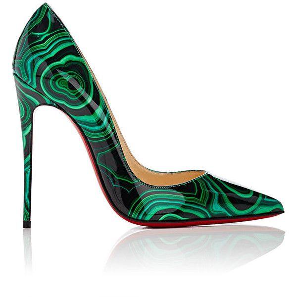 Christian Louboutin Women's So Kate Pumps ($745) ❤ liked on Polyvore featuring shoes, pumps, green, green pumps, patent pumps, green shoes, pointed-toe pumps and high heel stilettos
