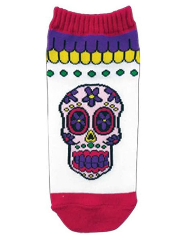 HOLLYWOOD MIRROR - WOMENS ANKLE SOCK SUGAR SKULL WHT