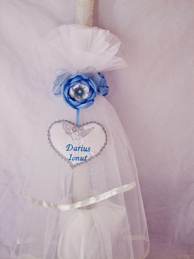 """Lumanari botez personalizate """"ingeras"""" cu flori din material textil"""
