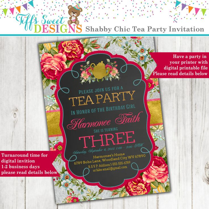 printable horse birthday party invitations free%0A Shabby Chic Tea Party Invitation with Roses and a silver  u     Gold Foil look