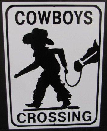 Aluminum Cowboys Crossing Small Sign