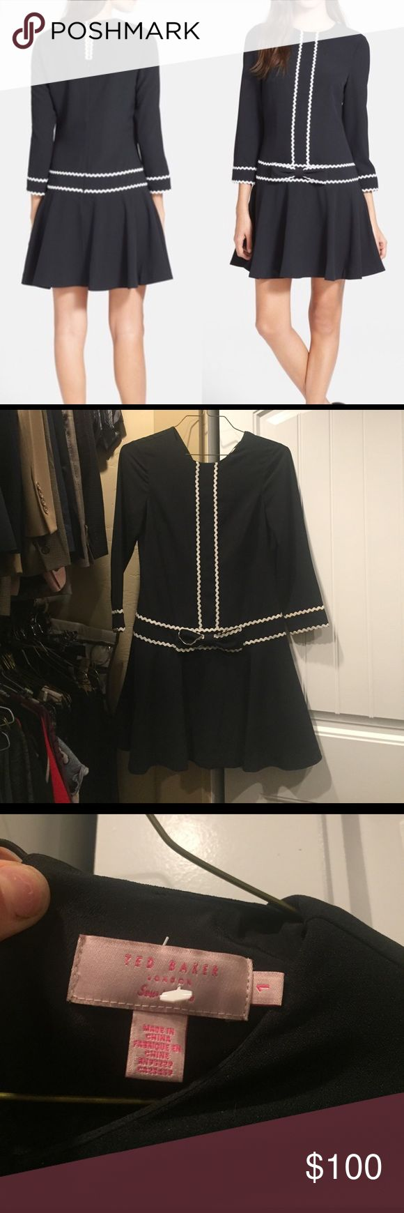 """Ted Baked London Gilla dress Black dropwaist Gilla dress from Ted Baker London. Worn once and freshly dry cleaned! Bow detail on front, zip back with button closure. 3/4 sleeves. White piping. Adorable! Size 1 which is a small. Waist 16"""", 34"""" shoulder to hem. Ted Baker London Dresses"""